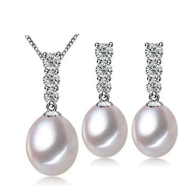 The Dangling Freshwater Pearl Silver Pendant Necklace & Earring Set F01