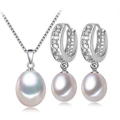 Natural Freshwater Pearl Sterling Silver Pendant Necklace Earrings Set F01