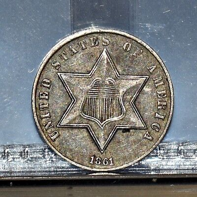 1861 Three Cent Silver 3CS - XF (#12806)