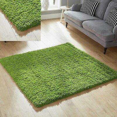 EXTRA LARGE THICK RUG 5CM PILE GREEN 200X290 cm SHAGGY RUG WAREHOUSE CLEARANCE