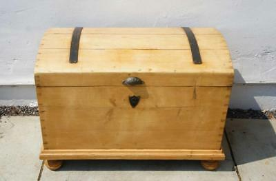 19th c Continental pine dome top blanket box/trunk