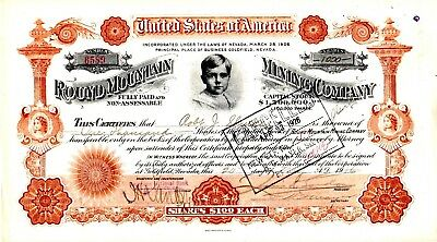Round Mountain Mining Company of Goldfield, Nevada 1916 Stock Certificate