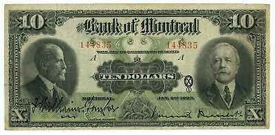 1923 Canada The Bank of Montreal $10 Chartered Note