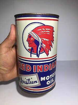 Rare & Clean Red Indian Aviation Motor Oil Imperial Quart Tin Can Sign Canada
