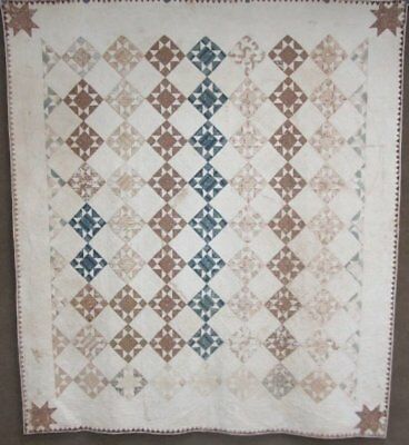 """Early Study! Dated & Signed 1830 STAR Antique Quilt Brilliant BLUE   95"""" x 85'"""
