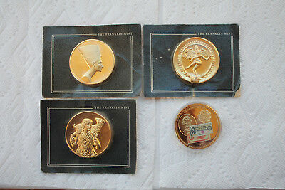 Gold Plated Bronze Medal from Franklin Mint, total of 4(3 in original packaging)
