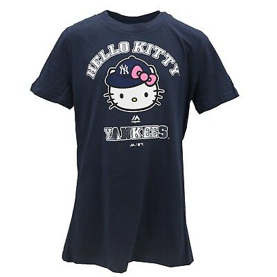 New York Yankees Official MLB Majestic Youth Girls Hello Kitty T-Shirt New Tags