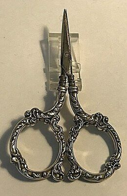 Antique Unger Bros. Sterling Silver Pair  Scissors Scrolls Handles Sewing #388