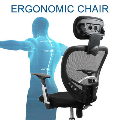 Adjustable Executive Office Computer Chair Fabric Mesh Seat High Back Ergonomic