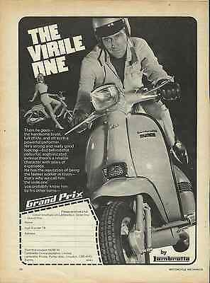 Orig. 1970 Lambretta Scooter Kitsch 'the Virile One' Sales Poster/ad
