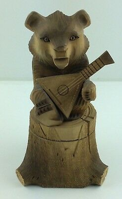 Rare Vintage Black Forest Style Hand Carved Detailed Wooden Bear Statue / Box