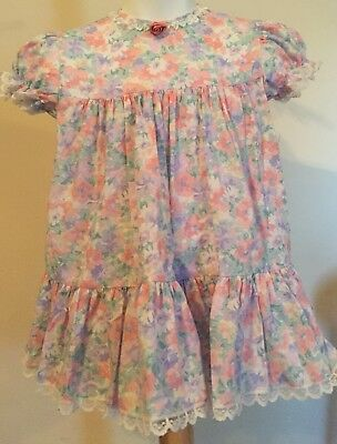 Vintage Bryan Toddler Girls Ruffle Pink Floral Lace Tiered Dress 24 months