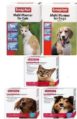 Beaphar WormClear or Multi Wormer Tablets for Cats / Dogs Vet Strength upto 20Kg