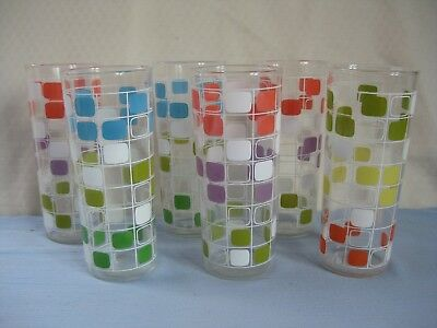 Vintage Mid-Century Modern Cocktail Drinking Glasses Tumblers geometric square 6