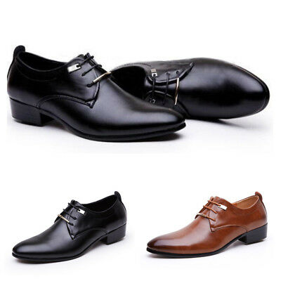 Office New Dress Leather Shoes Casual Formal Toe Oxfords Lace Wedding Men Up