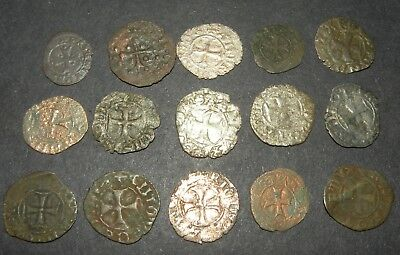 Medieval Cross Coins Lot 15 Total Silver 1200-1500's Ancient Crusader Templar +