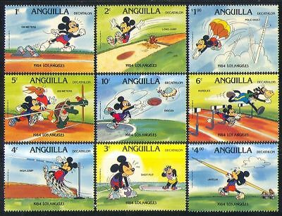 Anguilla 1984 Disney Mickey Mouse Olympics Sports Tortoise Hare Animation 9v MNH