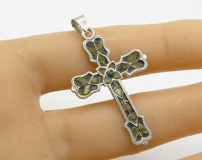 FDR 925 Sterling Silver Vintage Stain Glass Detail Religious Cross Pendant P1808