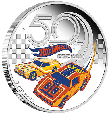 50 Years of Hot Wheels 2018 1oz Silver Proof Coin From The Perth Mint