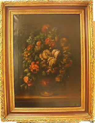 Large Early 20Th Century Still Life Flowers Oil Painting