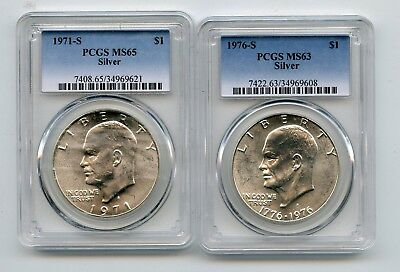 1971-S/1976-S Silver Eisenhower Dollars (MS65/MS63) PCGS Two Coins