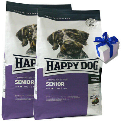2 x 12,5 kg Happy Dog Supreme Fit & Well Senior Hundefutter glutenfrei+ Geschenk