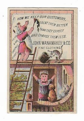 Old Trade Card John Wanamaker Clothing Philadelphia Girl Painting Canvas Sign