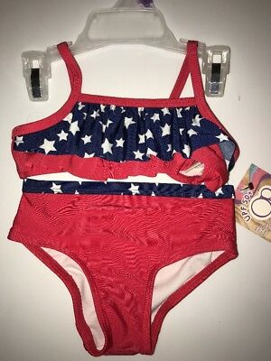 NWT ✿ OP Girl's 12 Months Red White Blue US Flag 2 pc Bikini Swimsuit UPF 50+
