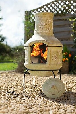 Large Clay Flowers Pizza Chiminea Chimenea with BBQ Grill Patio Heater Wood Burn