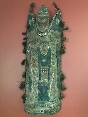 """Large Arched African Tribal Artifact Shield Primitive, 38""""x16"""" Unknown Origin"""