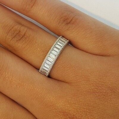 2 Ct Baguette Eternity Endless Anniversary Ring Band 14K Solid White Gold SIZE 8