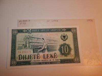 Vintage Currency Albania 10 Leke 1976 Paper Money P-43 Unc