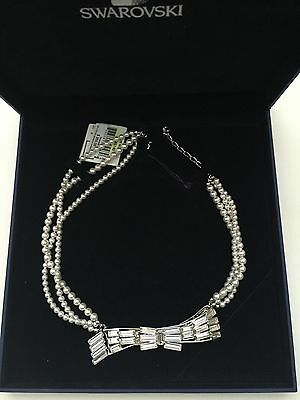 Swarovski Clear Crystal White Nacre Necklace Collar MSRP $350 NWT