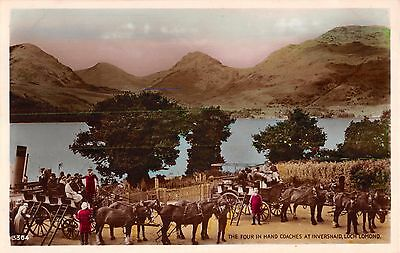 Inverness Loch Lomond Scotland Four In Hand Coaches~J B White Color Real Photo