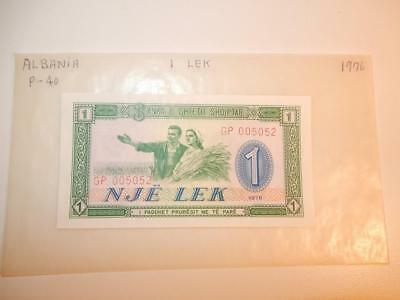 Vintage Currency Albania 1 Leke 1976 Paper Money P-40 Unc