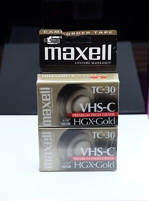 2 Maxell TC-30 VHS-C MAXELL High Grade HGX-Gold Camcorder Videocassette Tape