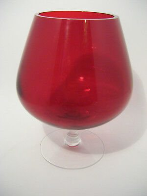 Vintage Retro 1960's / 70's Brandy Glass *CRANBERRY RED* Ballon Vase - 6'' high
