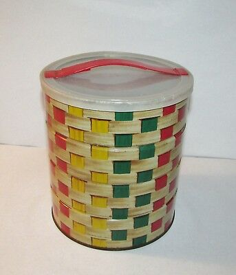 1963 Folgers Basket Weave Coffee Tin Can w/ Handled Lid Tote-About