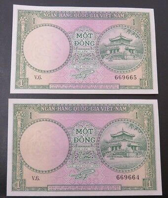 (2) Uncirculated & Consecutive Numbered Vietnam Mot Dong Currency - Watermark