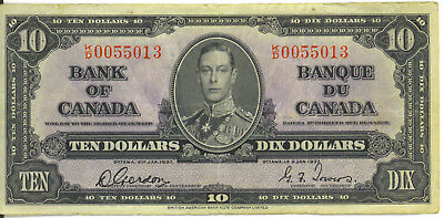 Bank of Canada 1937 $10 Ten Dollars Gordon-Towers KD Prefix VF