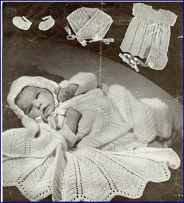 Vintage Baby Knitting Pattern LACY shawl dress bonnet hugh-me-tight  in 3 Ply