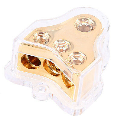 1 in 3 out Copper Car Auto Stereo Audio Power Distributor Block 4/5 AWG out