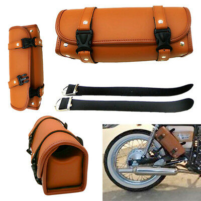Motorcycle Luggage PU Leather Brown Tool Bag Handle Bar Barrel Storage Pouch D S