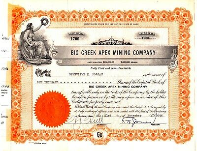 Big Creek Apex Mining Company of Wallace, Idaho 1946-1947 Stock Certificate