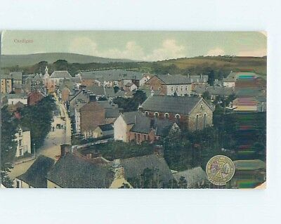 Aerial View Of Town Cardigan - Aberteifi - County Of Ceredigion Wales UK F5533