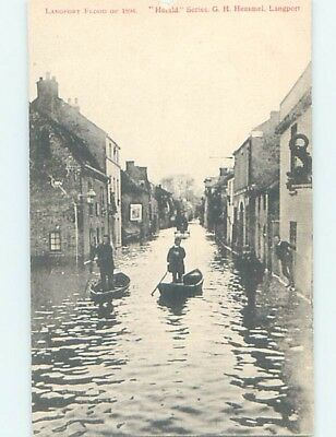 old card VIEW OF 1894 STREET DURING FLOOD Langport In Somerset England UK F5453