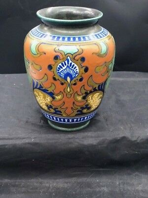 9 inch gouda art pottery early vase stunning color work