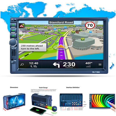 2-Din 7 inch Car MP5 Player Touch screen Bluetooth GPS Navigation Stereo Radio