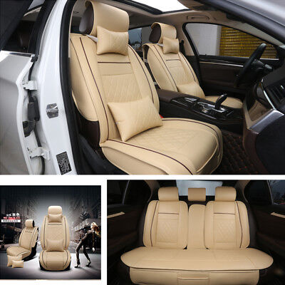 Deluxe Edition PU Leather Car Seat Cover Cushion 5-Seats Front + Rear w/Pillows