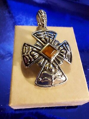Vintage Silver tone Celtic iron CROSS with AMBER glass pendant